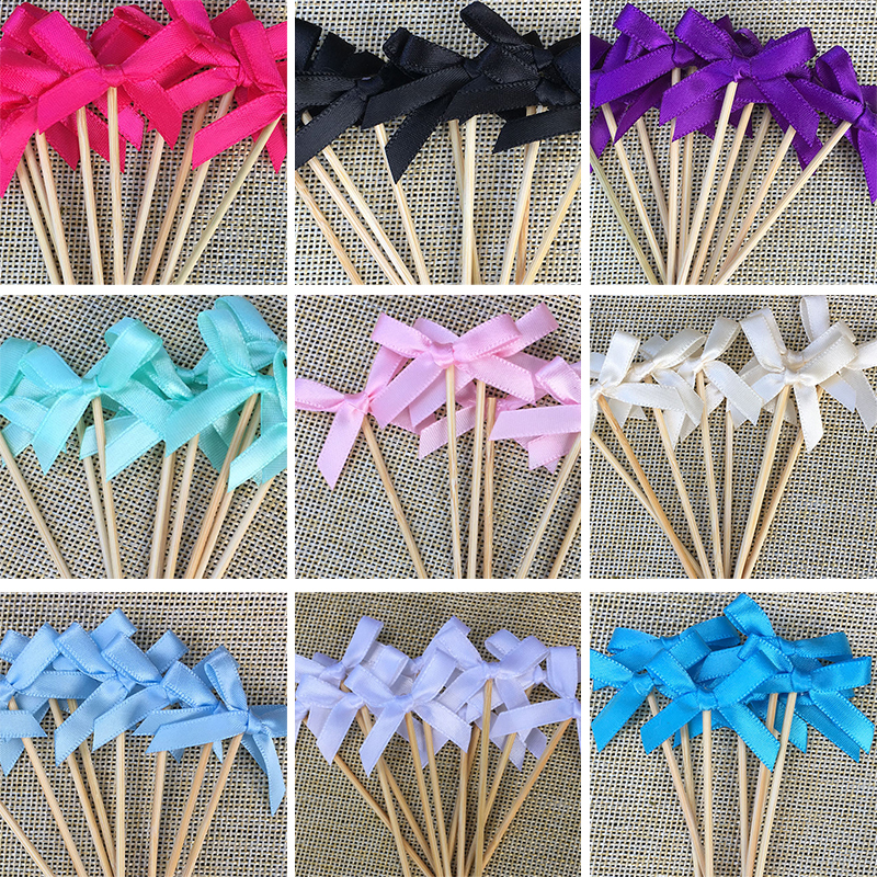 Wedding Cupcake Toppers Bow font b Food b font Picks Many Colors Bridal Shower Decorations Supplies