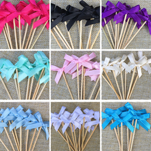 Wedding Cupcake Toppers Bow Food Picks Many Colors Bridal Shower Decorations Supplies Party Bachelorette Favor Accessory