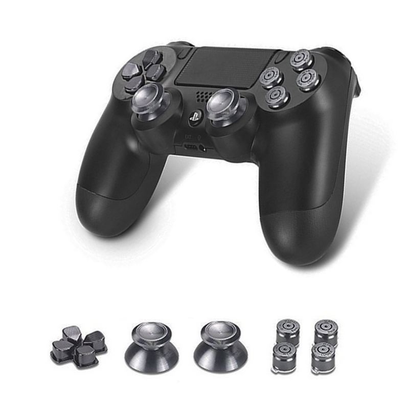 Thumb Stick Grips Bullet Button For PS4 Contorller Analog Joystick Anction Key Repair Kit For Dualshock4 Metal ABXY Caps D-Pad