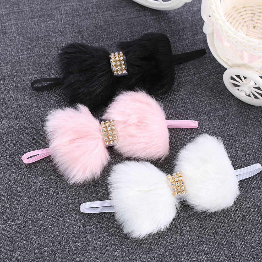 1PC Cute Bowknot Headband for Kids Girls Lovely Large Bow Faux Rabbit Fur Headdress Rhinestone Hair Band Accessories