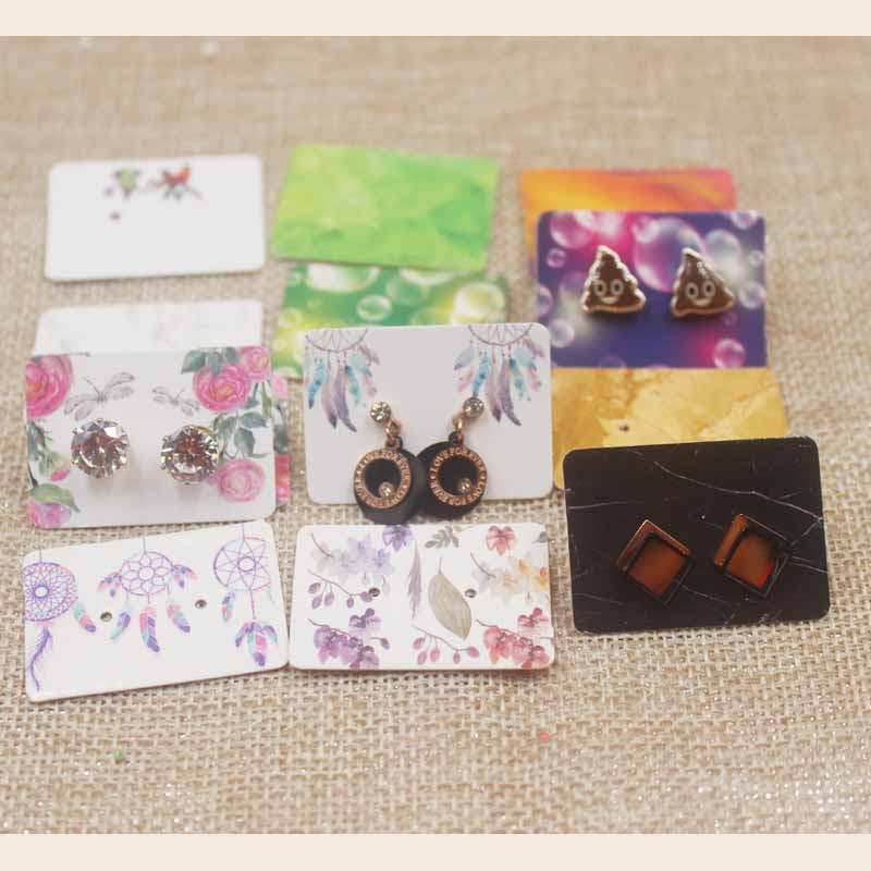 100pc Per Lot Dreamcatcher Earring Card Mutli Design Stud Earring Paper Package Card Marbel Design Earring Dispaly Card3.5*2.5cm