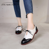 Yinzo Genuine sheepskin leather brogues lady flats casual shoes handmade vintage oxford shoes for women 2019 spring black yellow