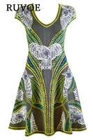 Мода 2017 г. Кепки рукавом A-Line jacquard Бандажное Платье Лето Осень пикантные вечерние Bodycon платья женская одежда оптом