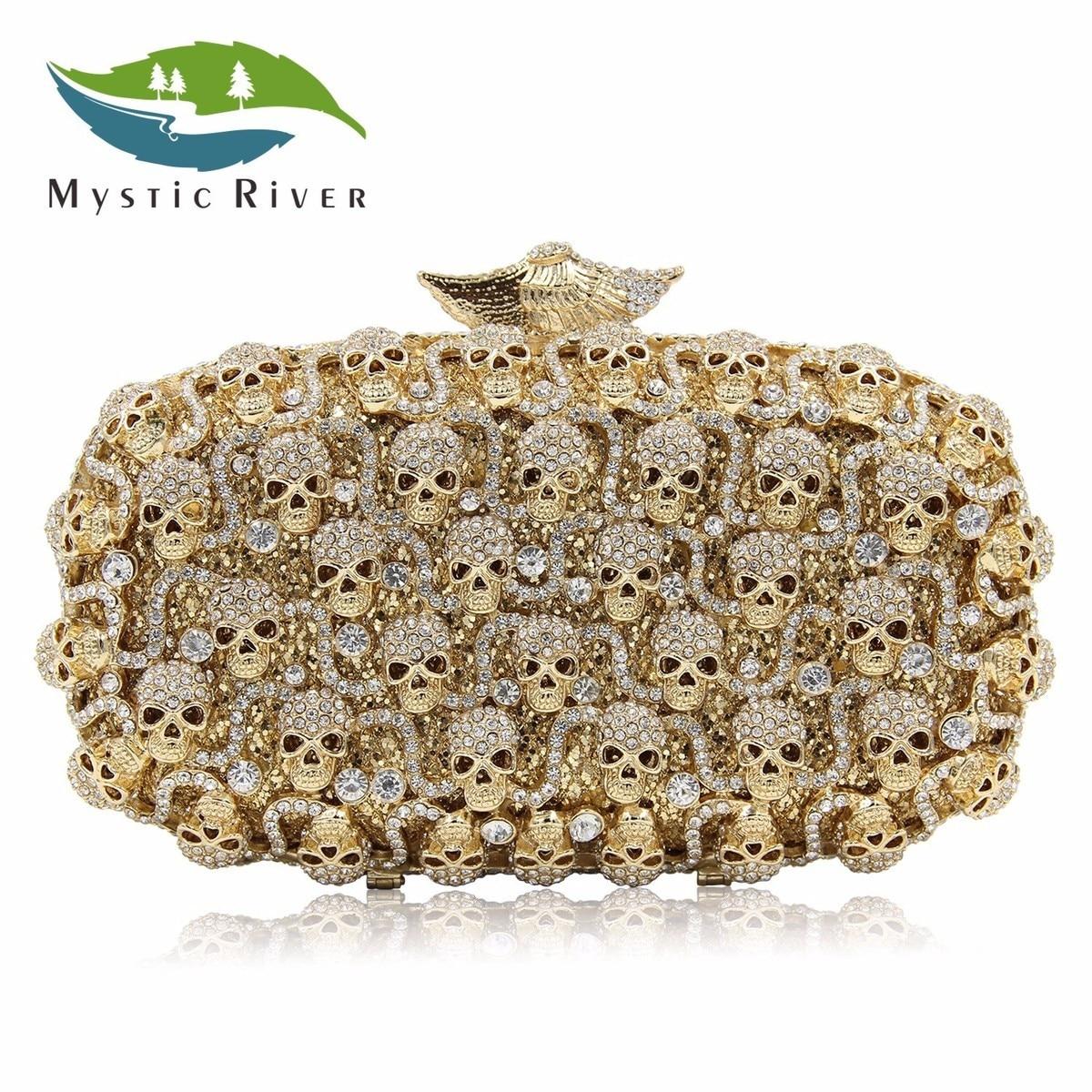 Mystic River Brand Women Evening Bags Skull Party Bag Gift Purse Gold Handbag сумка river island river island ri004bwzyz56