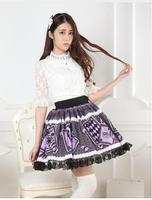 Sweet Purple Poker Card Printed Princess Pleated Girl's Lolita Skirt with Lace Trimming