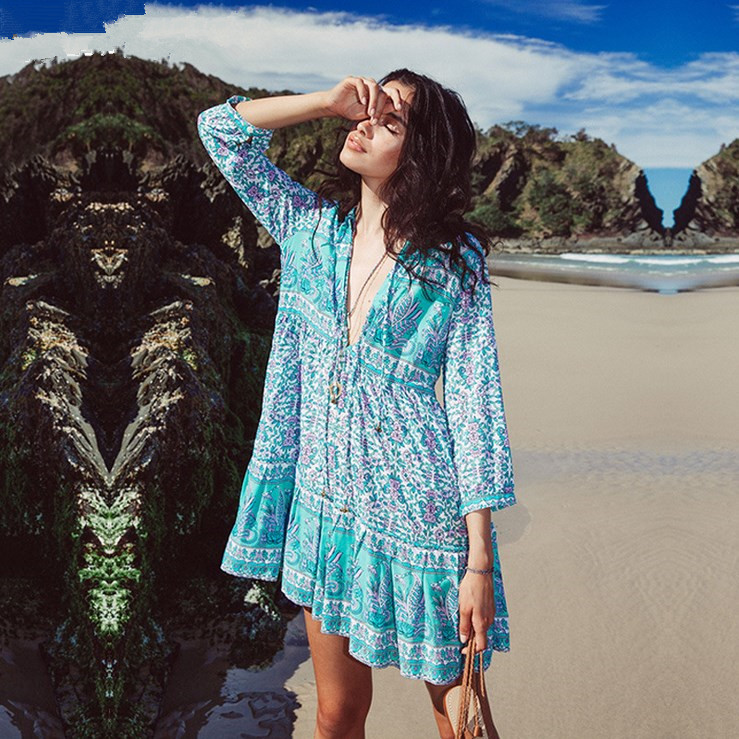 Hot sale 2017 summer chiffon beach dress new slim lace splice sexy dresses women lantern sleeve blue womens clothing