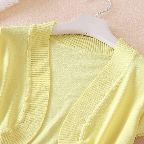 Women Spring Summer Crochet Knit Short Sleeve Shrug Short Thin Outwear