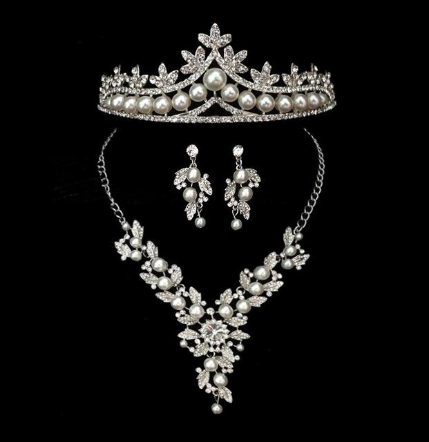 Banhado A Ouro branco Brincos de pérolas e strass Conjunto de Jóias de Noiva com tiara e Colar para o Casamento da noiva