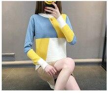 Новый пуловер Женская осенне-зимний свитер с Круглый воротник геометрический подбора цвета свитер