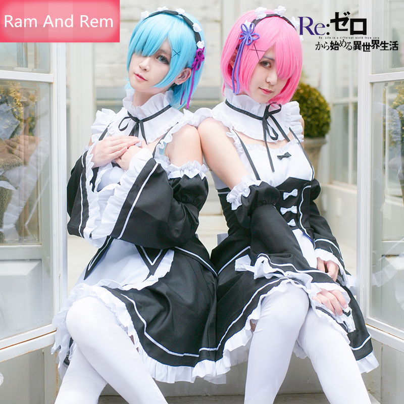 Re:Life in a different world from zero Ram And Rem Maid Cosplay Costume Women Maid Uniform Suits Costume Dresses