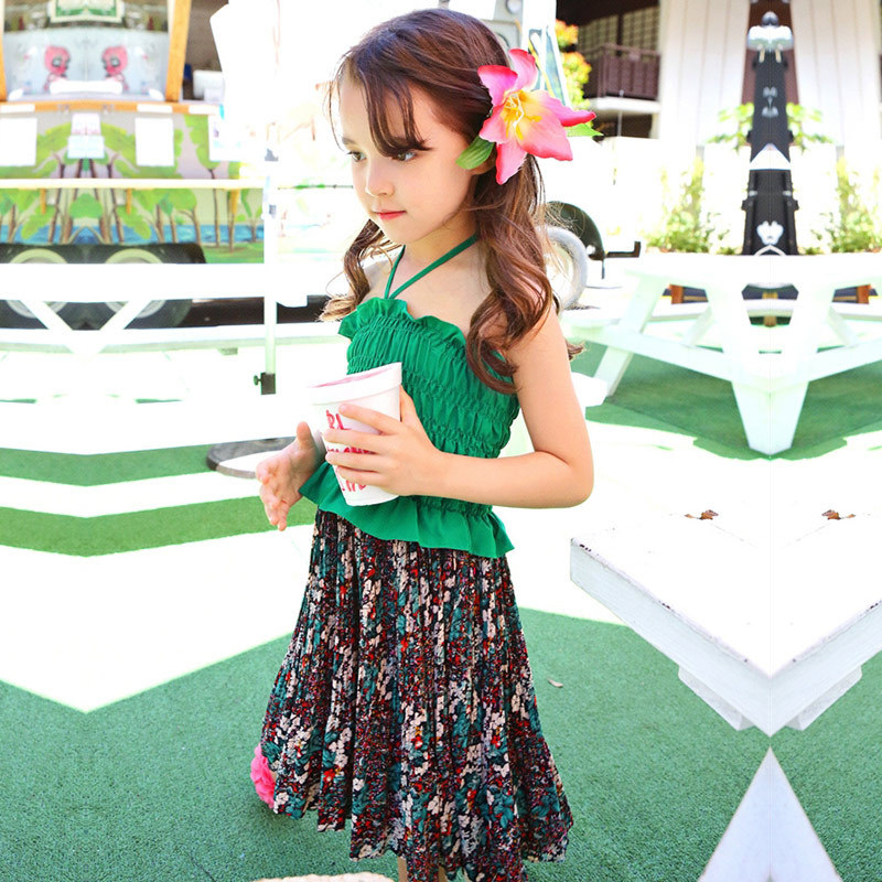beach kids dresses for girls sleeveless 2018 summer girl dresses children green yellow sundress clothes new summer style girls dresses fashion knee length beach dresses for girls sleeveless bohemian children sundress girls yellow 3t