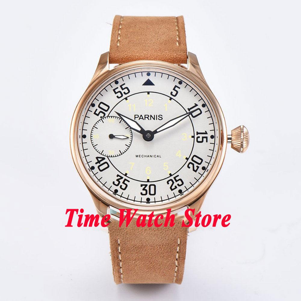 44mm Parnis classic mens watch 678 Gold case luminous 6497 hand winding movement