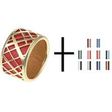 Conjunto de anillos huecos de acabado Cremo Liens Gild para mujer banda Reversible insertar dedo 12mm anillo ancho joyería elegante bijoux