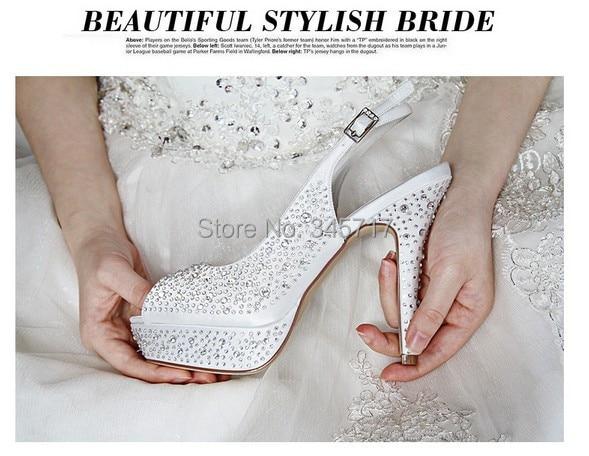 aliexpresscom buy factory custom made luxury rhinestone white wedding shoes elegant women pumps dressing shoes evening shoes bride shoes from reliable