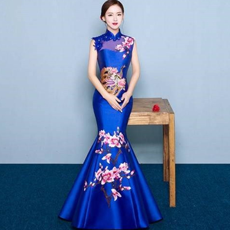 Sexy Blue Wedding Dresses Formal Evening Oriental Dress Bride Chinese Traditional Cheongsam Modern Qipao Robe Chinoise Femme