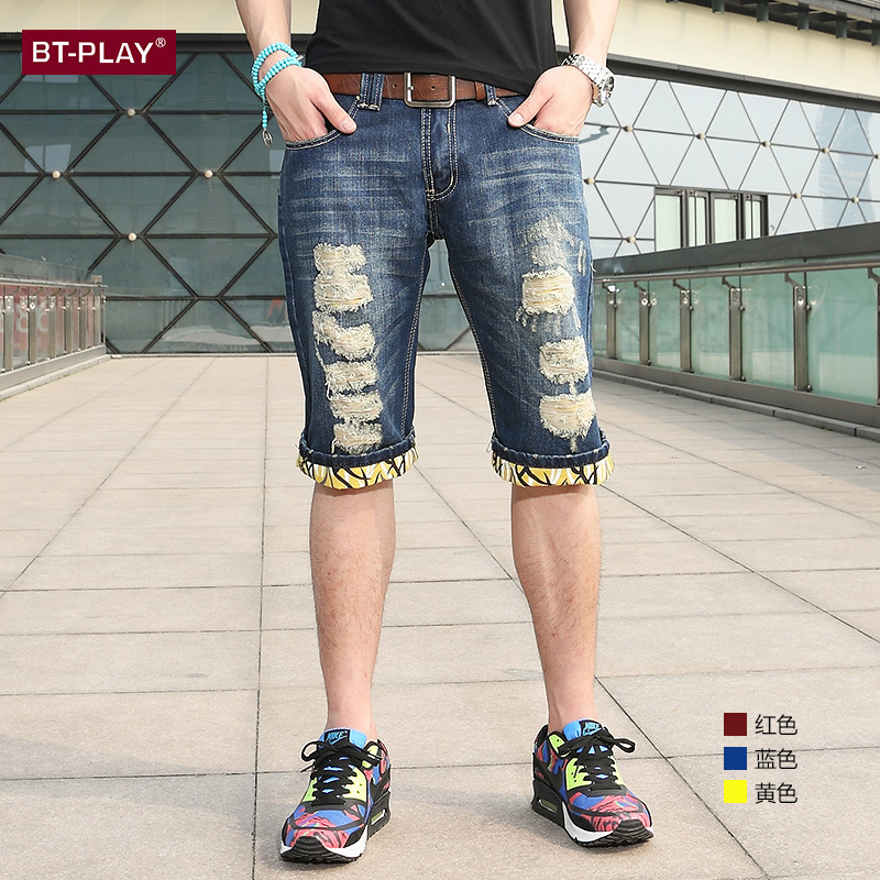 skull jeans men Summer new men's jeans Shorts jeans ripped holes ...