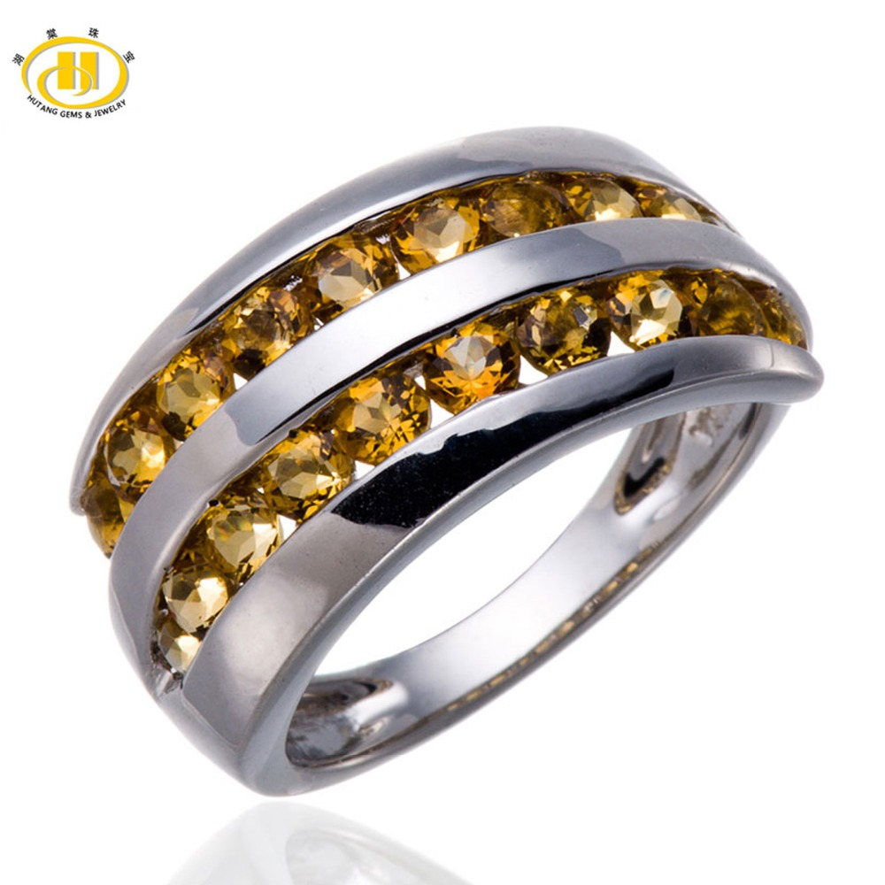 Hutang Natural Citrine Rings Gemstone Solid 925 Sterling Silver Ring Fine Classic Elegant Jewelry for Women