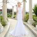 Em Estoque Vestido De Noiva 2017 Lace Vestido de Casamento Com Caixilhos Apliques Elegantes Da Sereia Do Vintage Vestidos de Casamento Robe De Mariage