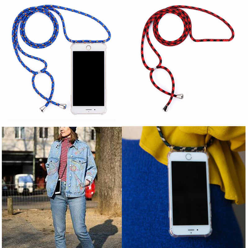 Coque de téléphone de protection bandoulière collier cordon étui avec corde pour iPhone 6 7 Plus 8 Plus 5 5 S SE XR XS MAX X XS livraison directe