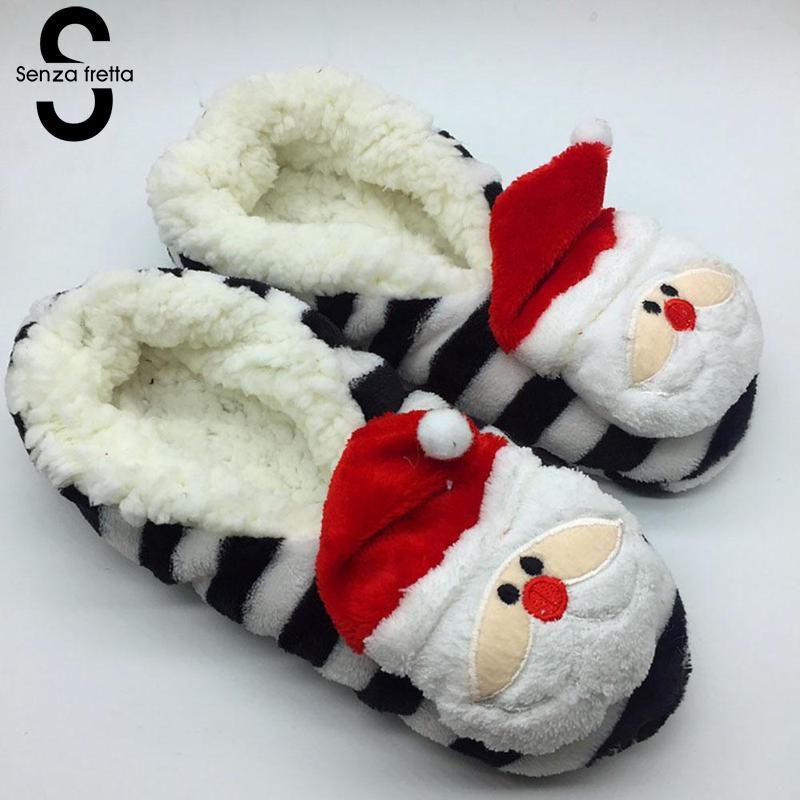Senza Fretta Women Shoes Christmas Cute Thickened Plush Women Slippers Indoor Soft Non-slip Cotton Slippers Shoes Size36-39 soft house coral plush slippers shoes white