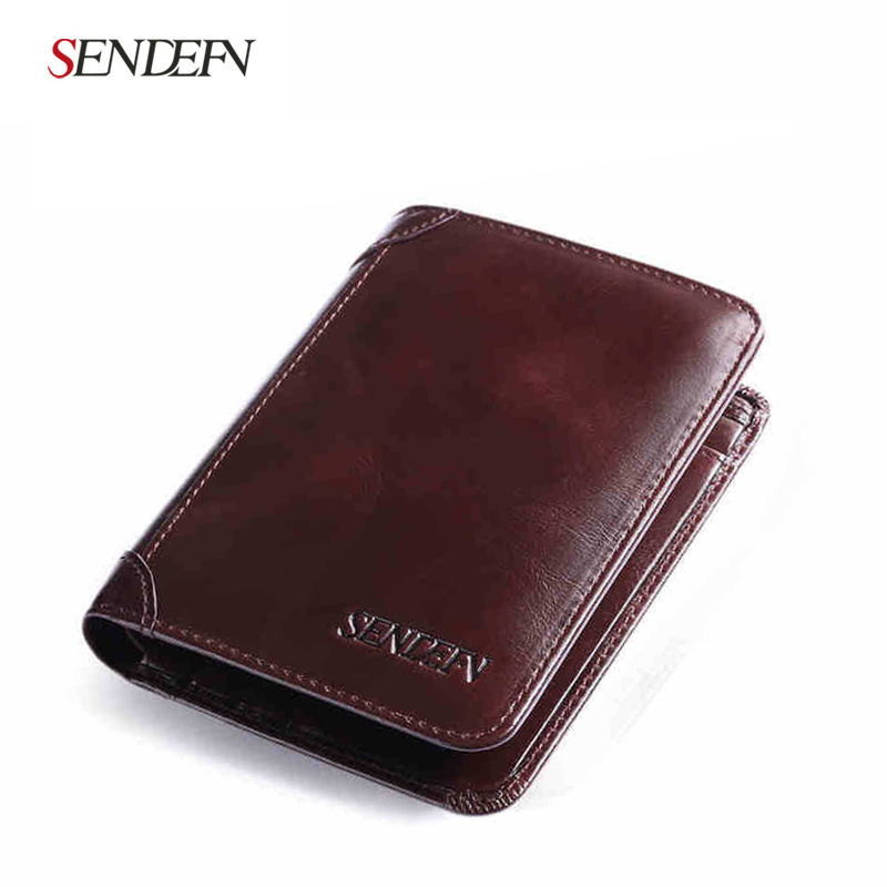 Vintage Mens Short Leather Business Wallet Simple Male Mini Card Holder Purse Black Coffee Slim Wallets for Man Gift