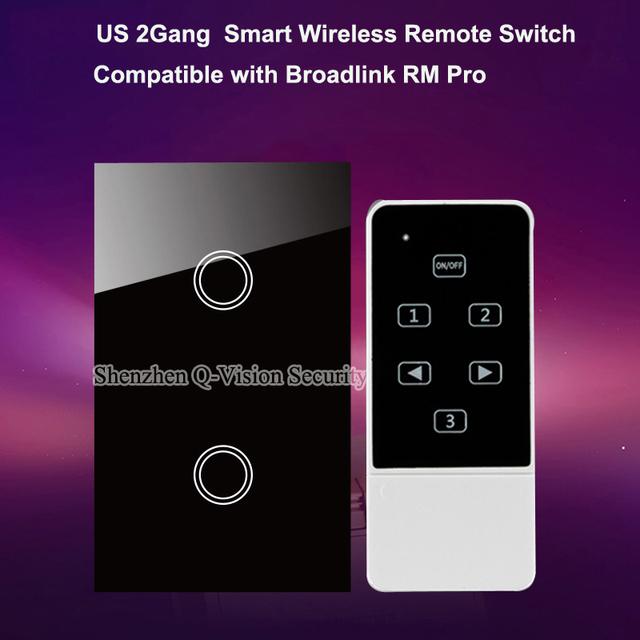 Teléfono inteligente wifi remoto ee.uu. 2 gang táctil de pared interruptor de la luz, rf433mh by broadlink rm pro geeklink cristal panel, ac110-240v