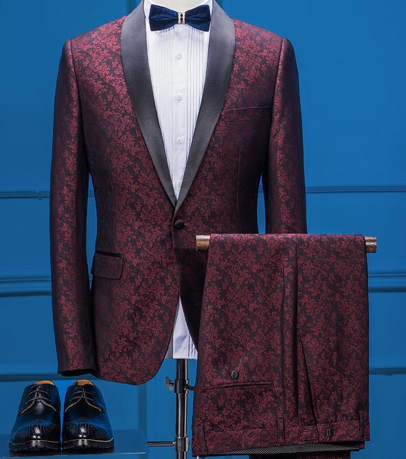 British Style One Buttons Men Slim Fit Suit Classic Flower Groom Wedding Tuxedos For Men Causal Blazer(Jacket+Pants+vest)