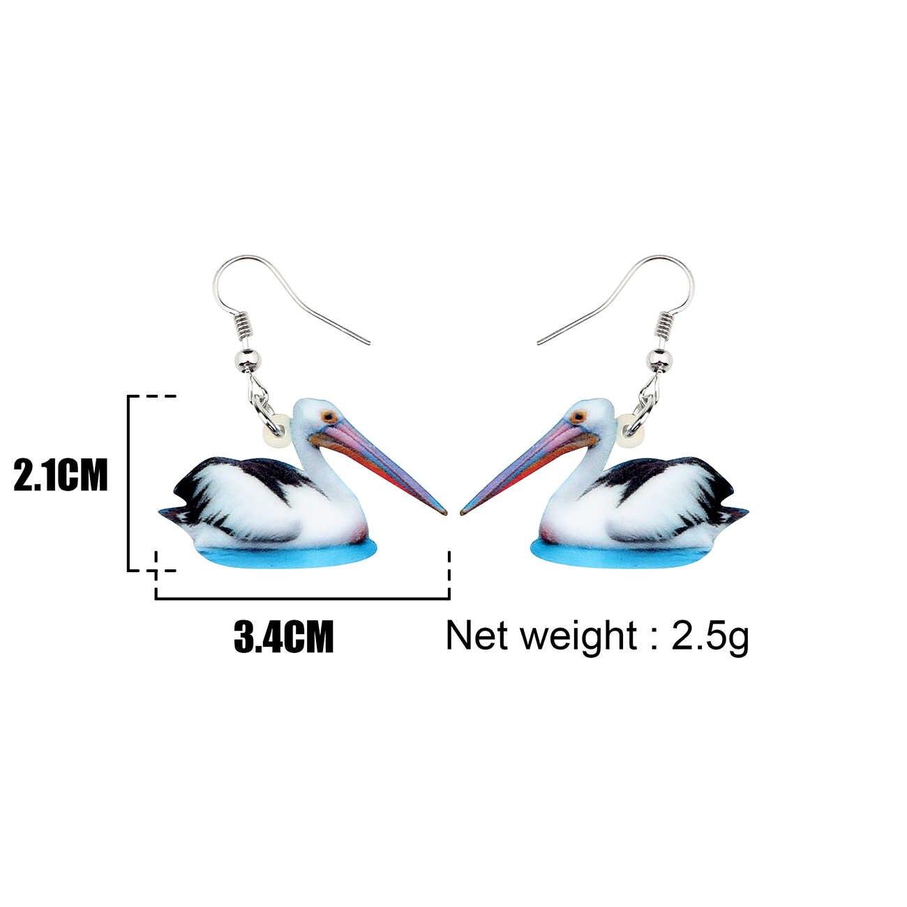 Bonsny Acryl Cartoon Pelican Vogel Oorbellen Grote Lange Dangle Drop Novelty Animal Sieraden Gift Voor Vrouwen Meisjes Tiener Charmes Bijoux