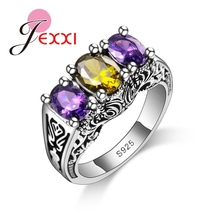 JEXXI New Design Colorful Cubic Zirconia Ring Fashion 925 Sterling Silver Women Wedding Engagement Party Ring Jewelry цена 2017