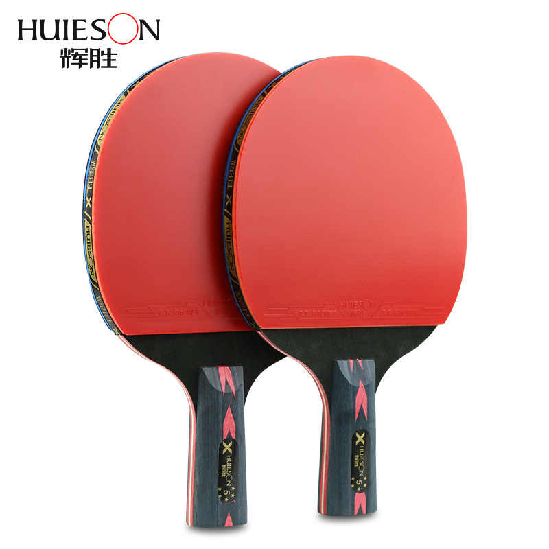 2Pcs Upgraded 5 Star Carbon Table Tennis Racket Set Lightweight Powerful Ping Pong Paddle Bat with Good Control with Case
