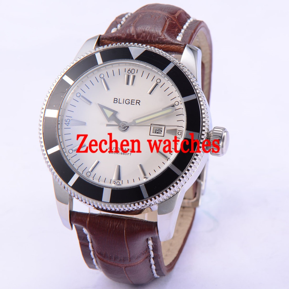 BLIGER 46mm Stainless Steel Case leather strap white dial Luminous Watch Automatic Mens Wristwatch цена и фото
