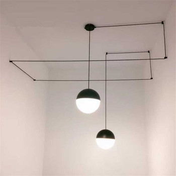 Modern Globe Ball Pendant Lamps DIY Geometric Lines String Pendant Lights LED Glass Hanglamp For dining Living Room Fixtures