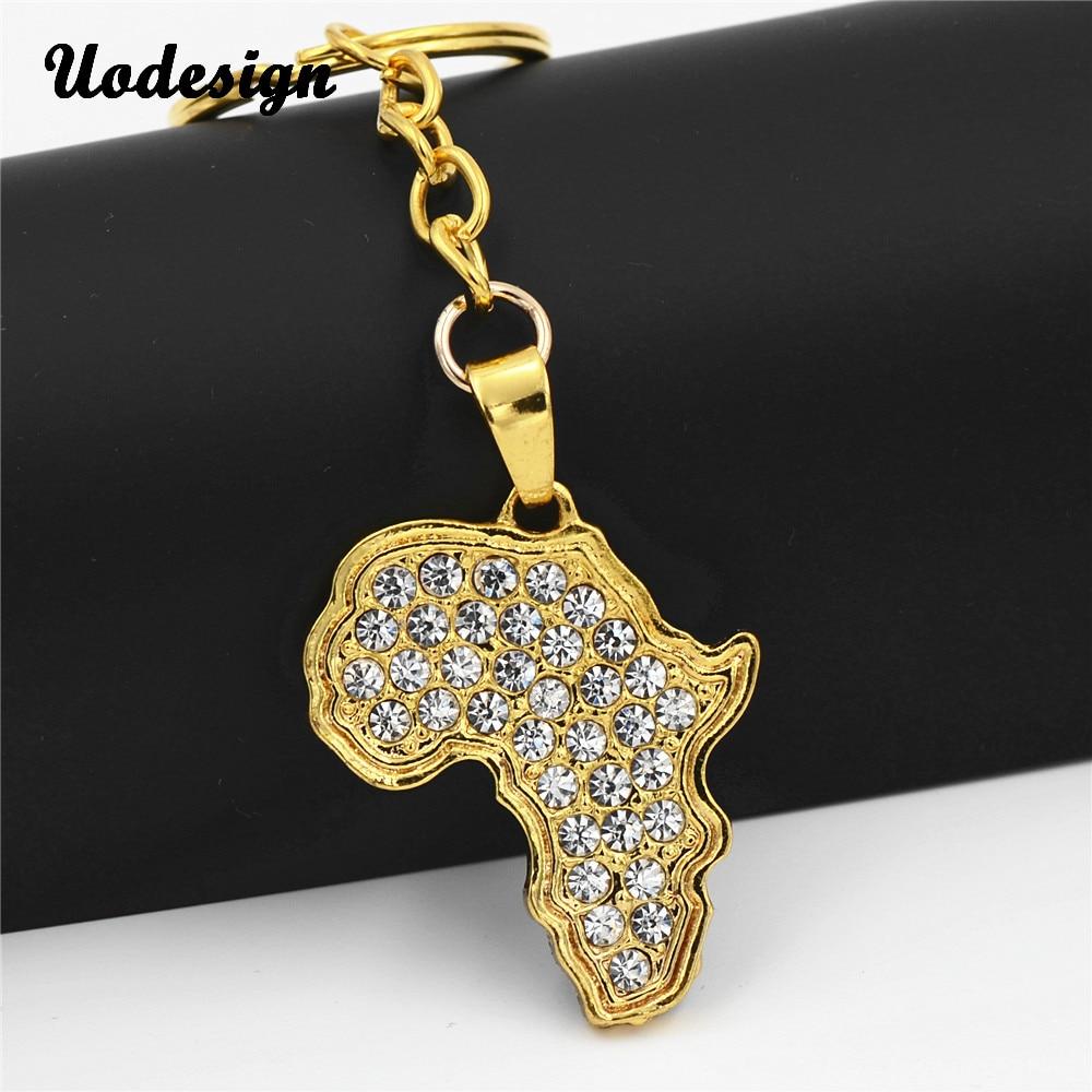 Uodesign Hip Hop Men Women Crystal Africa Map Pendant Keychain Jewelry Bling Bling