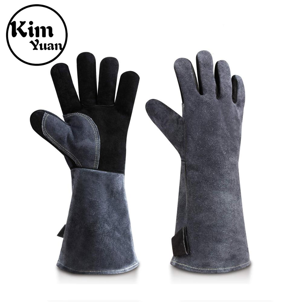 KIMYUAN 2Pair Welding Gloves Heat Resistant Perfect for Welder/Cooking/Baking/Beekeeping/Animal Handling/BBQ-Gray-Black 16inchesKIMYUAN 2Pair Welding Gloves Heat Resistant Perfect for Welder/Cooking/Baking/Beekeeping/Animal Handling/BBQ-Gray-Black 16inches