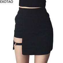 Sexy Spy Women s Skirts Mini Asymmetrical Saias Black High waist Female Jupe 2017 Design Faldas