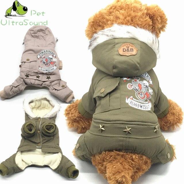 New Cotton Pet Dog Cat Lettera Stampata Costume Caldo Inverno Cani vestiti Cappo