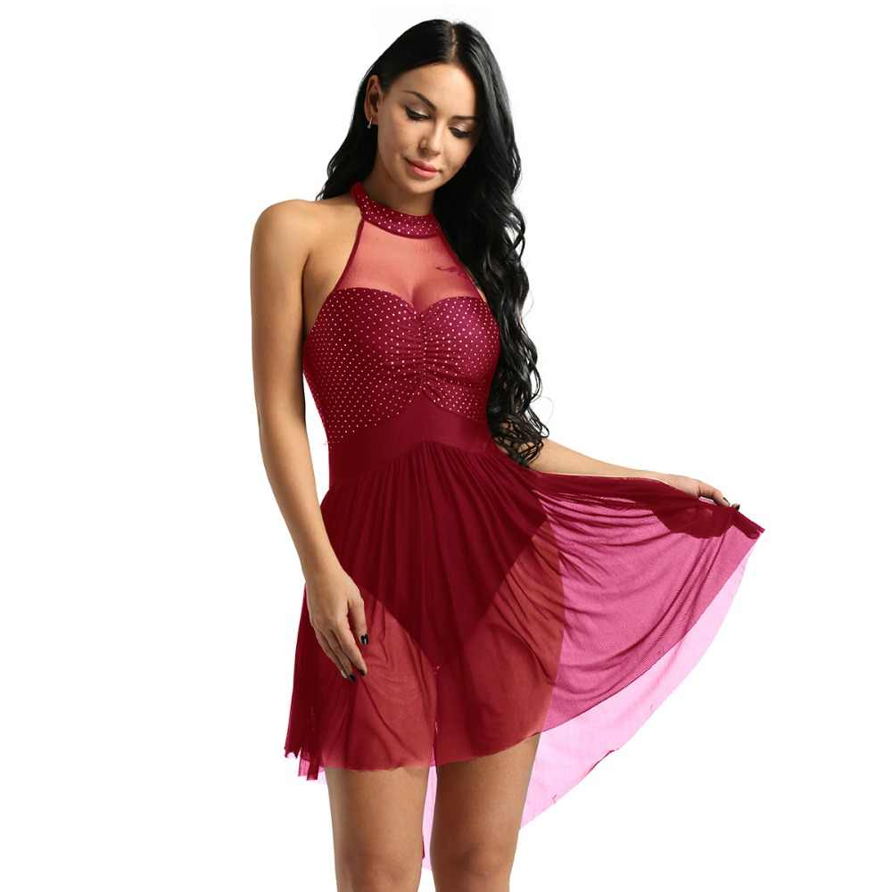 DPOIS בלט שמלת נשים דוט שרוולים לירי מודרני שמלת ריקוד למבוגרים קפלים אחורי קלע התעמלות בגד גוף שמלות נשף