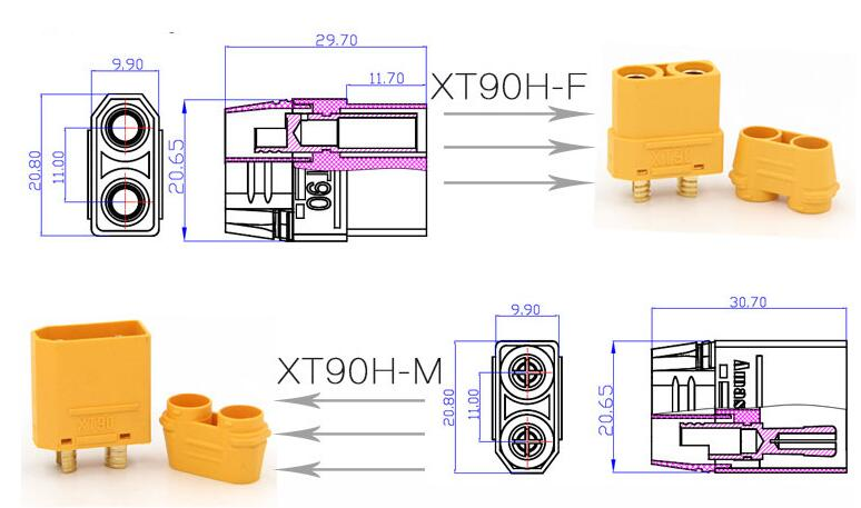 Image 5 - 5Pair/lot Amass XT90+ Plug Connectors Male Female For RC Model Battery-in Parts & Accessories from Toys & Hobbies