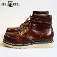 Итальянская обувь из натуральной кожи в стиле ретро; мужские качественные ботинки ручной работы на шнуровке; зимние рабочие ботильоны