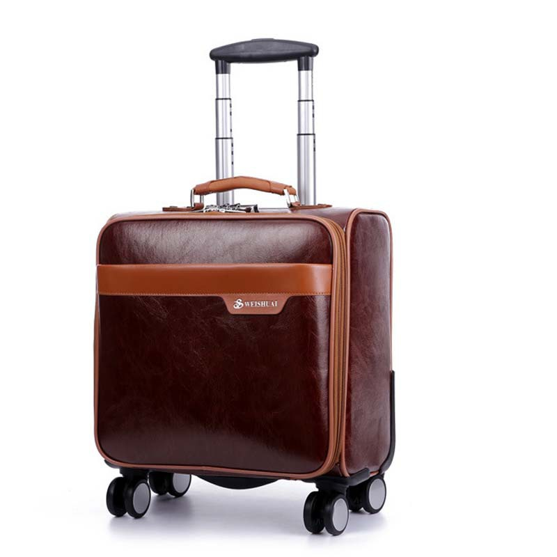 16 pouces décontracté hommes conseil châssis chariot valise roulette huile peau lockbox roulement bagages chariot voyage fixation rétractable et mécanisme d'attache de sécurité