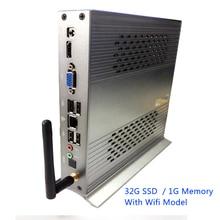 Full HD Dual-Core 1.8 ГГц 32 г SSD 1 г ОЗУ мини настольный компьютер Wi-Fi 150 МБ/с. алюминия шасси ITX архитектура