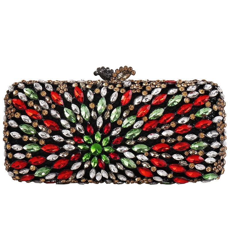 RADISH Multi couleur cristal femmes perlées noir soirée en métal embrayages sac de fête de mariage bal de mariée sac à main sac à main - 6