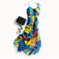 В богемном стиле принцессы парадный вечерний костюм путешествия пляжное платье шелк С НАБОРНЫМИ БРЕТЕЛЬКАМИ цельнокроеное платье
