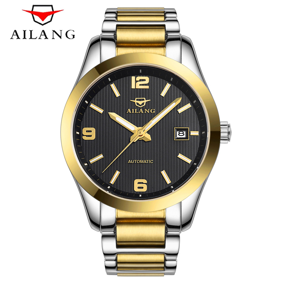 AILANG Mens High Quality Luxury Casual Automatic mechanical Watches Men Top Brand Luxury Business full steel watch Man Clock new business watches men top quality automatic men watch factory shop free shipping wrg8053m4t2