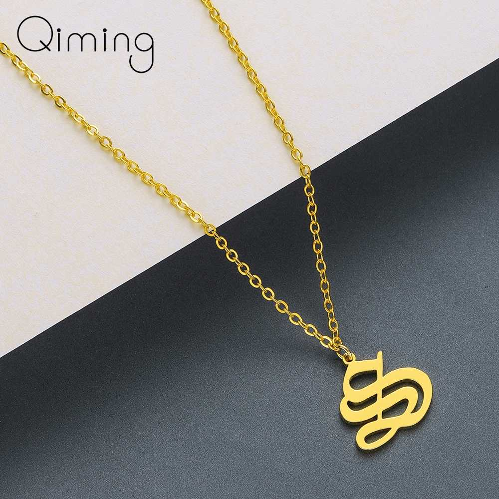 QIMING Letter Necklace S T U V W X Y Z Chokers Silver Gold Stainless Steel Pendants Necklaces Fashion Women Jewelry Gift