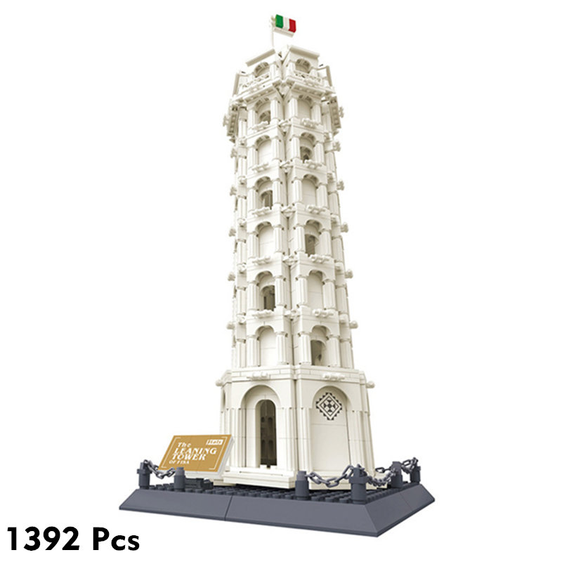 2019 World Famous Architecture Leaning Tower of Pisa Building Blocks Sets Bricks Classic Skyline Model Kids