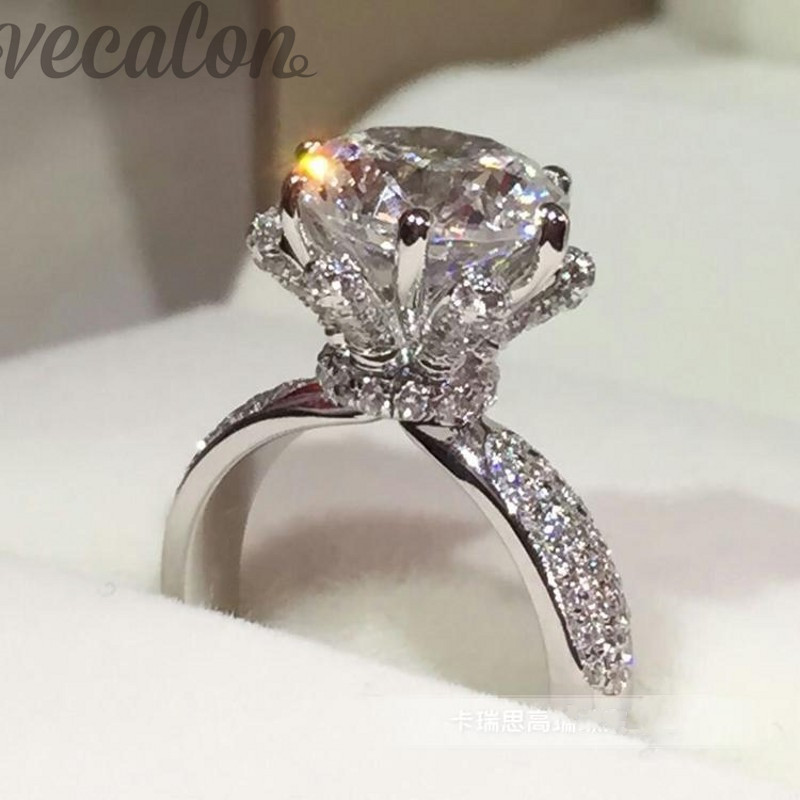 Promotion 94% OFF Vecalon Engagement Band anneau de mariage pour les femmes 3ct AAAAA Cz Pierre anneau 925 Sterling Argent Femelle Doigt anneau