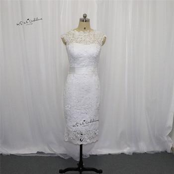 Cheap Short Bride Dresses Vestido de Noiva Curto Mariage Lace Wedding Dress 2017 Knee Length Wedding Party Gowns Trouwjurk