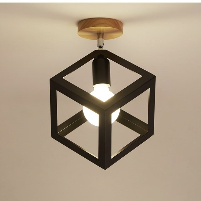 Modern Led Cage Ceiling Lights Iron Minimalist Retro Ceiling Lamp Scandinavian Loft Pyramid Lamp Metal Cage Lighting Fixture