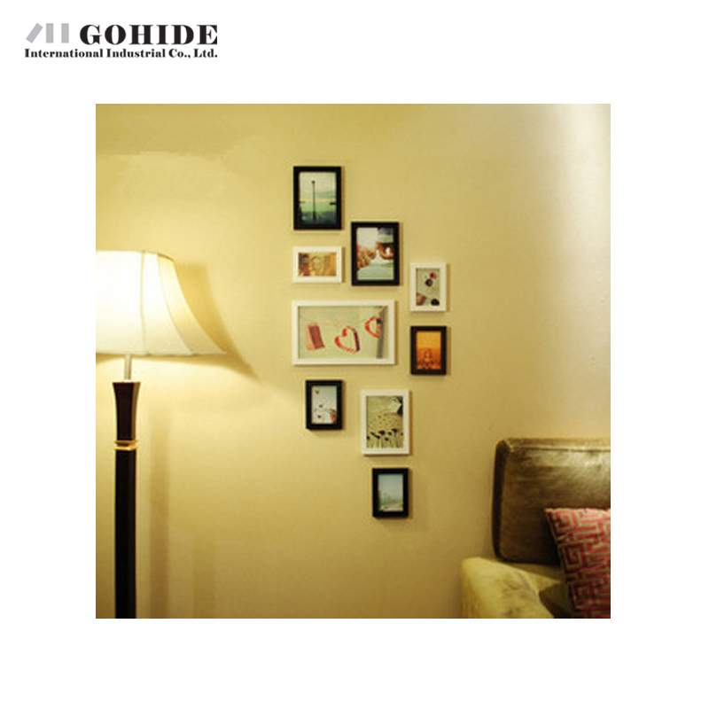 gohide decoration wooden decorative wall photo frames 9pcsset box small combination picture frame white black frame for picture